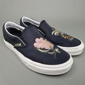 VANS Classic Slip-On Skate Shoes Flowers Tiger 7.5